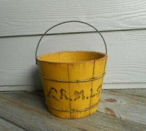 Antique Primitive Six Inch Wooden Bucket in Original Chrome Yellow Paint AAFA
