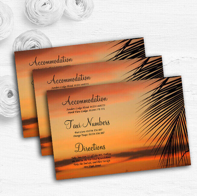 Palm Tree Sunset Abroad Personalised Wedding Guest Information Cards