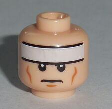 LEGO NEW FLESH COLORED HEAD BATMAN BRUCE WAYNE WHITE HAIR FROWN