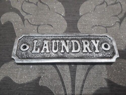 vintage victorian LAUNDRY door sign cast metal effect retro period shabby plaque