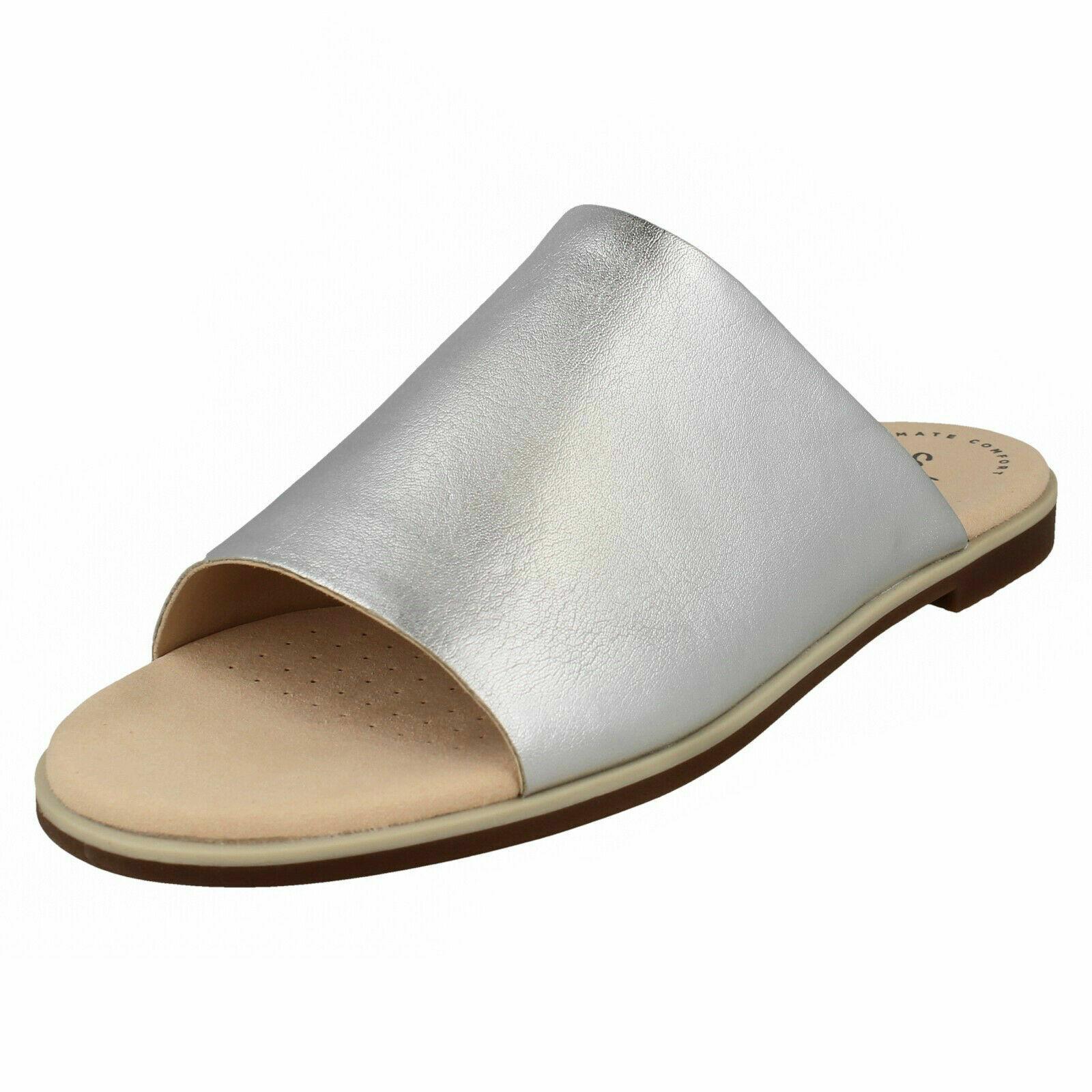 Damen Clarks& 039; Bucht Blaumenblatt& 039; Freizeit Silber Leder Flach Pantoffeln Sandalen