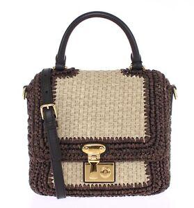 NEW DOLCE   GABBANA Bag Purse Brown Raffia Leather Hand Shoulder ... 955ba72025db8