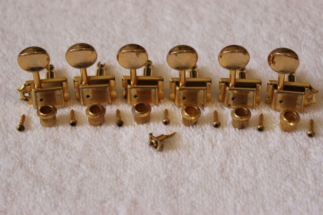 NEW Kluson 70s Style Vintage Gold 6 In Line TUNERS for Fender Strat KFT-3805GL