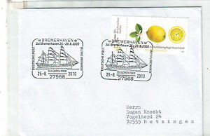 (f) Allemagne 2771 Gorch Fock Bateau A Voiles Citron Fruits Bremerhaven Lettre