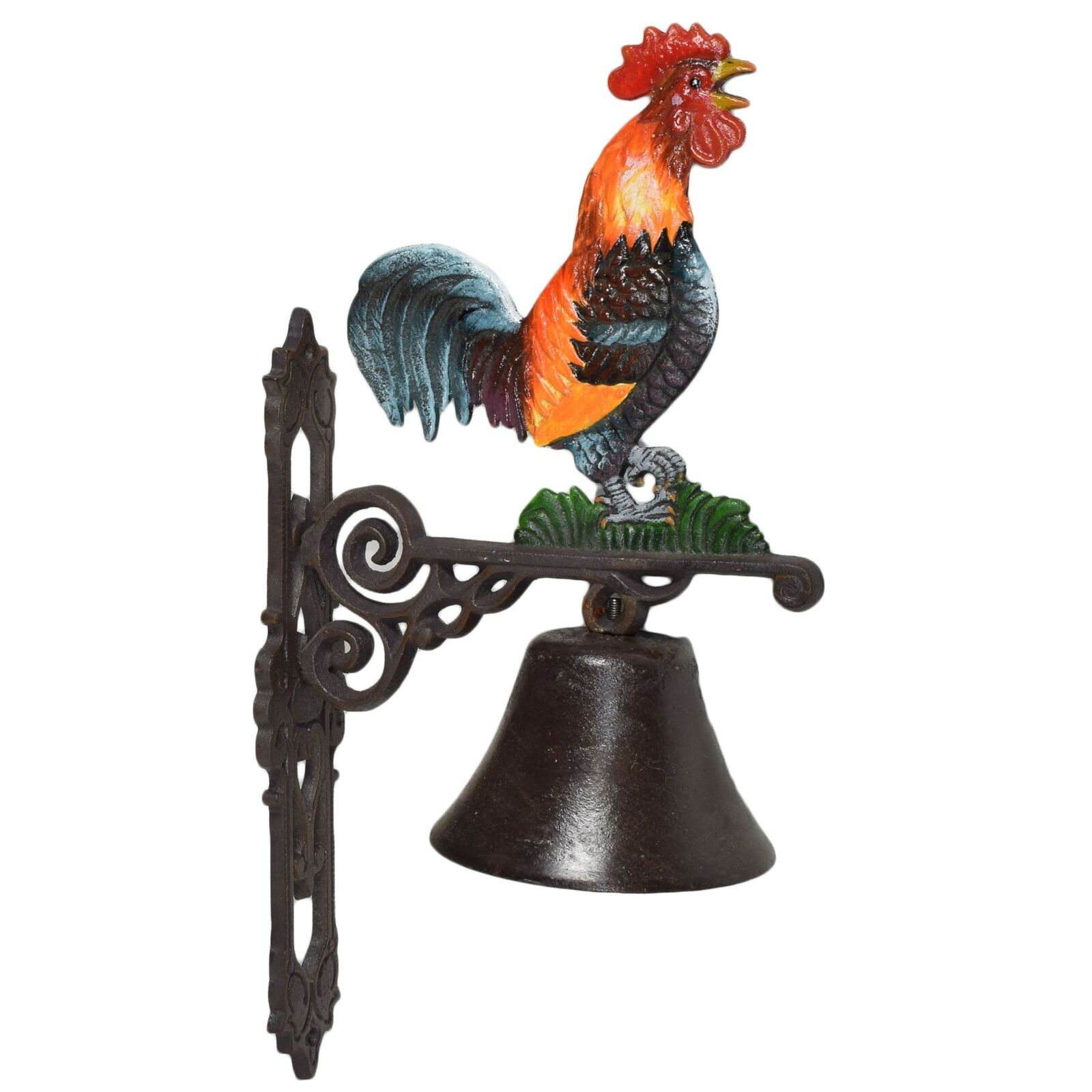 Cockerel Rooster Bell signo de hierro fundido Placa Puerta Parojo Estaca Gate House