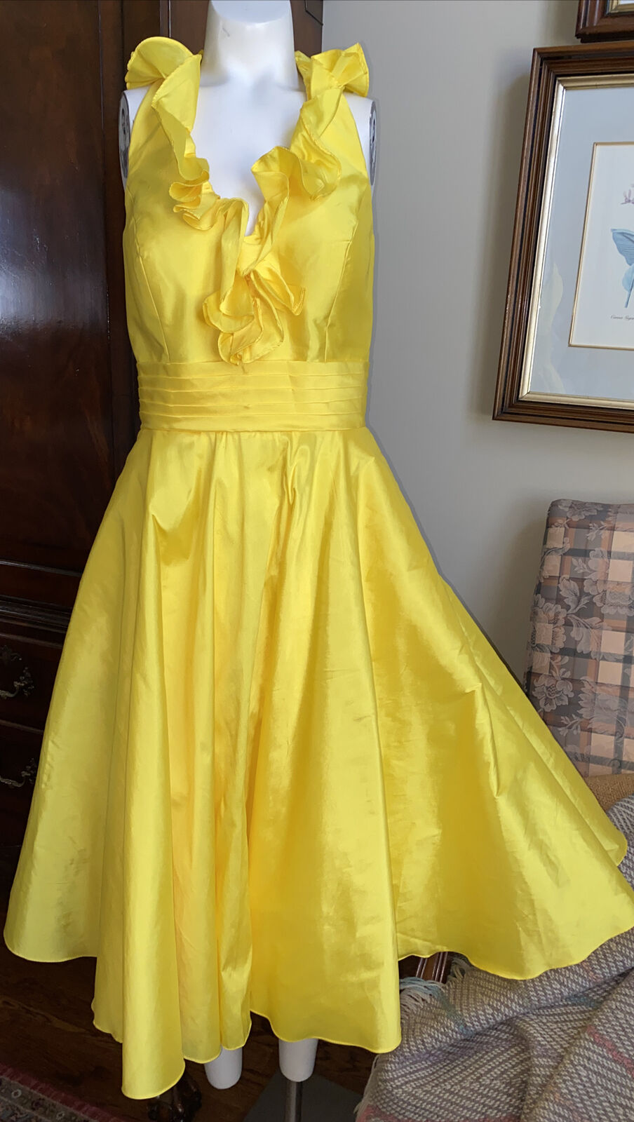 Angelina Faccenda Yellow Halter Gown Dress Party Wedding Formal Bridesmaid