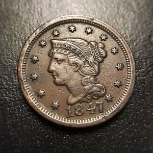 1847-Coronet-Large-Cent-Choice-AU-About-Uncirculated-Braided-Hair-1c
