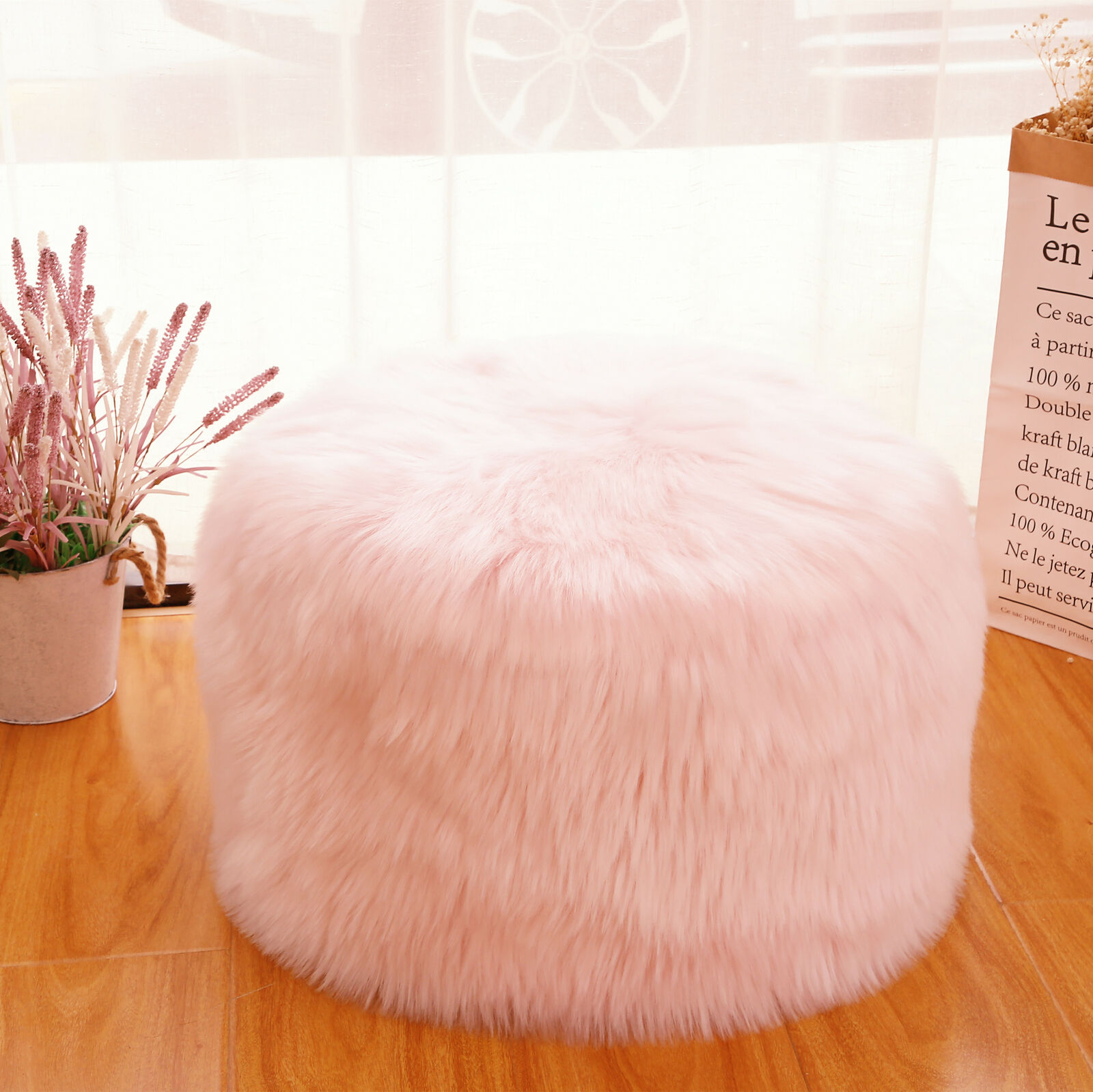 """Fur Ottoman Stool Unstuffed Ottoman Pouf Covers 20x12"""" Round Poof Seat Foot Rest"""