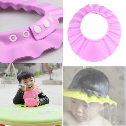 Soft Baby Kid Adjustable Hair Wash Hat Shampoo Bathing Shower Eye Shield Pink FT