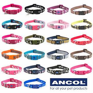 Dog-Puppy-Collars-Ancol-Combat-Skull-Crossbones-Paw-Prints-Unicorn-3-Sizes-S-M-L