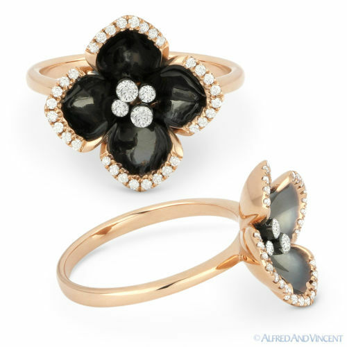 0.22ct Round Brilliant Cut Diamond & Enamel Right-Hand Flower Ring 14k pink gold