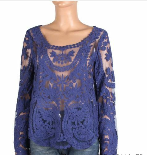 Crochet White Festival Boho Lace Hippy Long Sleeve Blouse Sheer Shirt Beach Top