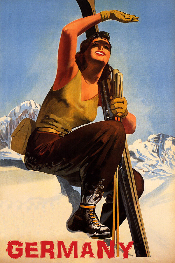 GERMANY SKI MOUNTAINS SUNNY DAY WINTER SPORT GIRL SKIING VINTAGE POSTER REPRO