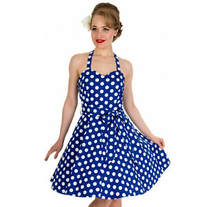 c16cad91f1ed Navy Polka Dot Dress 12 Rockabilly Dress 10 Swing Dress 14 50s Style ...