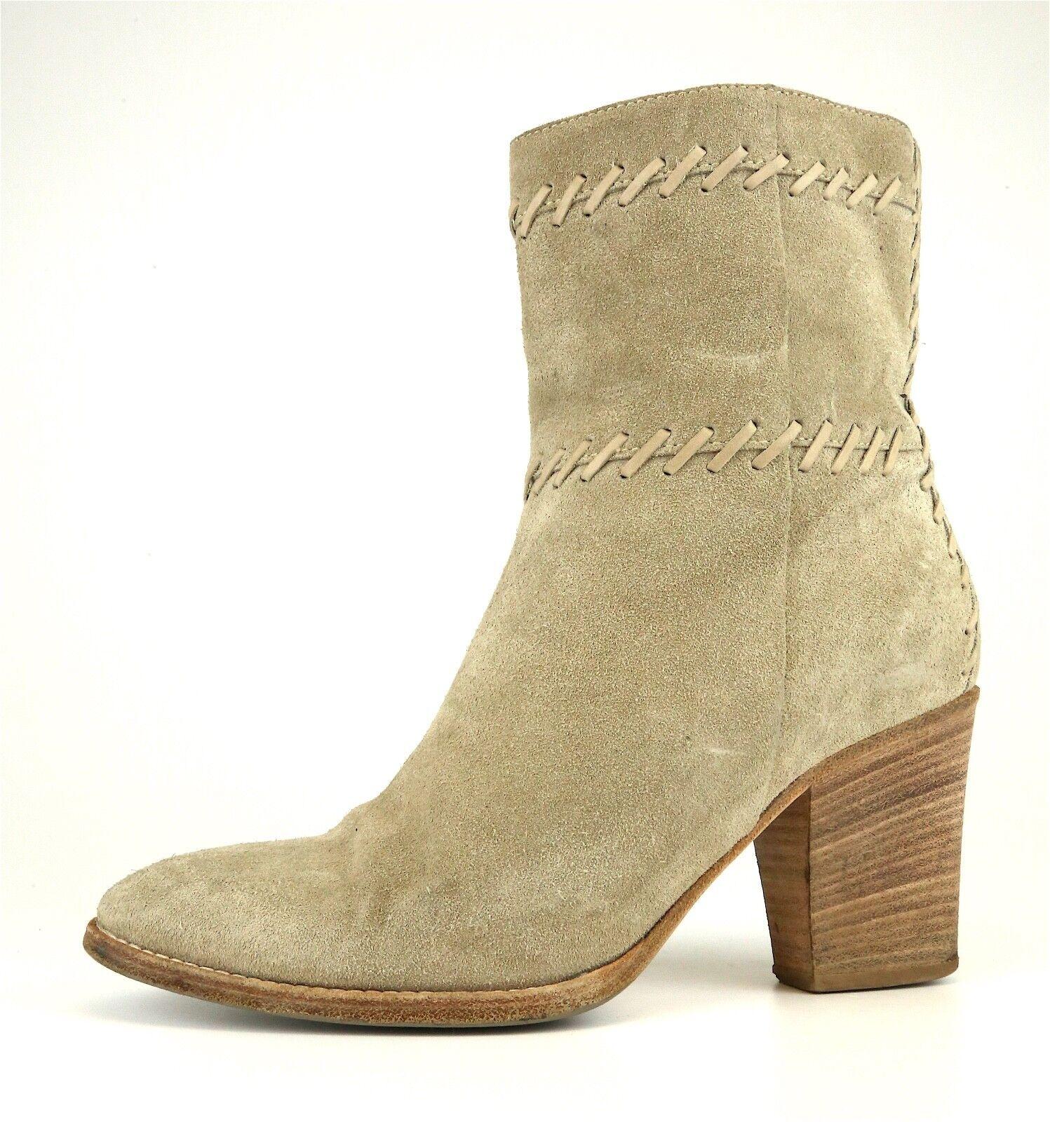 Aquatalia By Marvin K. Side Zip Suede Ankle Boots Beige Women Sz 8.5 5134 *