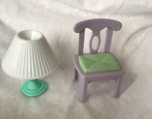 Image is loading Loving-Family-Dream-Dollhouse-Purple-Chair-And-Green- & Loving Family Dream Dollhouse Purple Chair And Green Table Lamp | eBay
