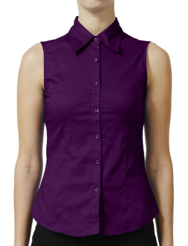 NE PEOPLE Womens Tailored Sleeveless Full Button Down Collared Shirt NEWT15