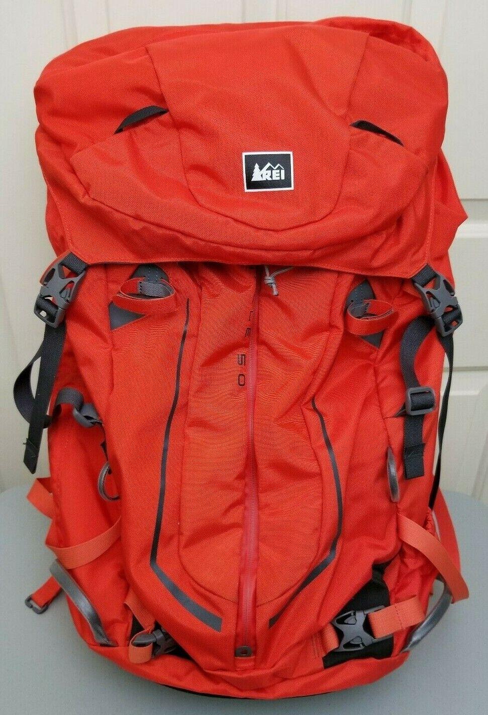 REI Pinnacle 50 Backpack Bag Orange Hiking Mountain Climbing Snowboarding