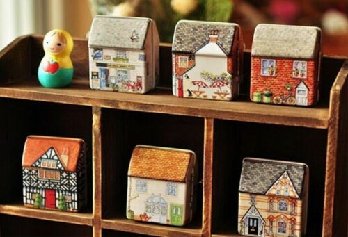 Wedding Party Gift Box Vintage House Shape Mini Gift Package Tin Box Home Decor