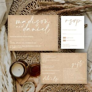 Personalised WEDDING INVITATIONS Natural Beige Fleck Modern Minimal Block PK 10