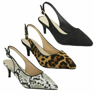 e074d55b14 SPOT ON LADIES SLINGBACK POINTED TOE SNAKE LEOPARD PRINT COURT SHOES ...