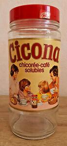 Ancien-Bocal-Pot-en-Verre-Cicona-Chicoree-Cafe-Soluble-Vintage-Annee-70