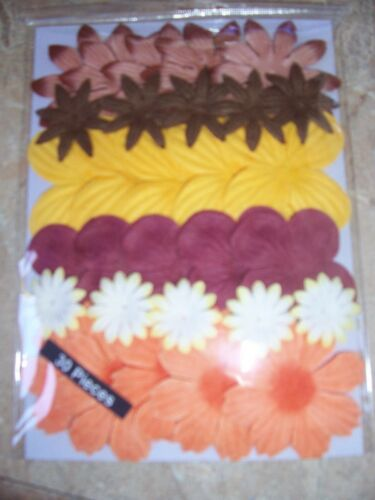 PAPER FLOWERS EARTHTONES EARTH TONE COLORS 30 IN FACTORY SEALED PACKAGE