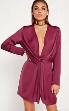 peace + love satin wrap mini dress burgundy s12 Missguided RRP45£