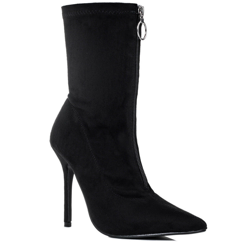 Womens Zip High Heel Stiletto Ankle Boots shoes