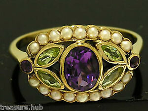 R296-Genuine-9K-Yellow-Gold-NATURAL-Amethyst-Peridot-Pearl-Suffragette-Ring-sz-O
