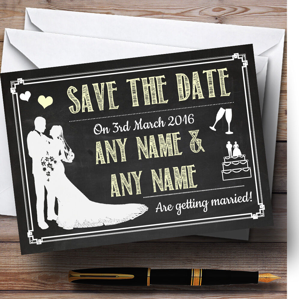 Chalkboard Gelb Personalised Wedding Save The Date Cards