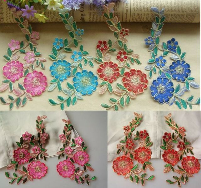 Colorful Gold Line Flower Patch Embroidered Iron or Sewing on Applique 20cmX13cm