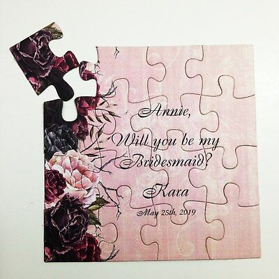 Maid of Honor Proposal Vintage Bridesmaid Gift Puzzle Invitation Will You Be My Bridesmaid Asking Flower Girl jigsaw puzzle