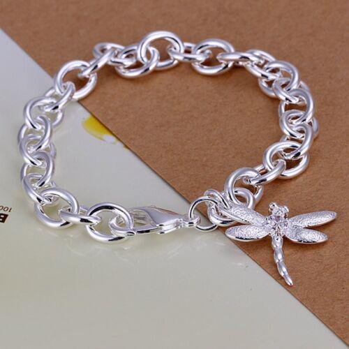 Fashion 925 Sterling Argent Massif Bijoux Libellule Charme Bracelet Pour Femmes H282
