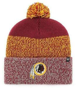 WASHINGTON-REDSKINS-NFL-FOOTBALL-039-47-BRAND-KNIT-BEANIE-STATIC-CUFF-CAP-HAT-NWT