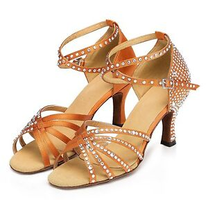 6744c197e7550a Image is loading Adult-Lady-Latin-Dance-Shoe-Bronze-Rhinestone-Bottom-