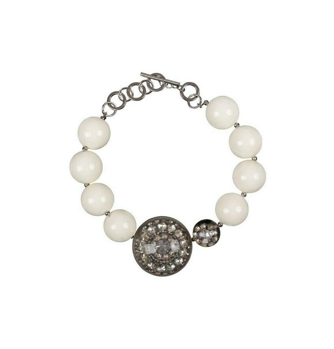 EMPORIO ARMANI Jewels Brass + Glass + Poly Ivory Balls Necklace Woman