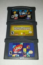 Gameboy Advance Lot of 3: Sims Bustin Out Pirates Of The Carribean Uno Free Fall