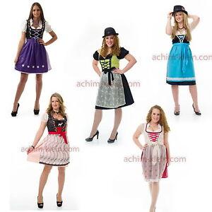 Dirndl-Trachten-Kleid-Set-3tlg-Kleid-Bluse-Schuerze-34-36-38-40-42-44-46