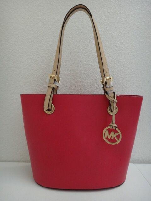 Michael Kors Mk Jet Set Md Tote Bag Pink Lipstick Leather Beige Gold 38h5xttt2l