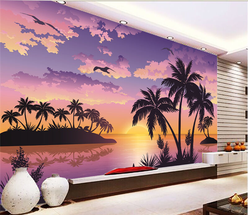3D Beach Sunset 503 WallPaper Murals Wall Print Decal Wall Deco AJ WALLPAPER