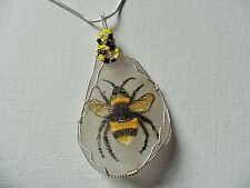 """Buzzy bumblebee necklace hand painted english sea glass 18"""" silver plated chain"""