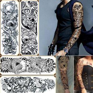 4 Sheets Temporary Tattoos Big Body Arm Tattoo Sticker Long Sleeve ...