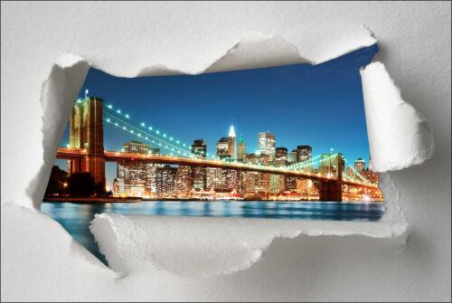 Sticker Trompe l/'oeil papier déchiré déco New York Brooklyn réf 367