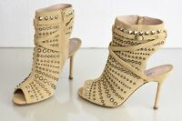 $1895 Manolo Blahnik Billan Beige Taupe Suede Studs Sandals Boots Shoes 40
