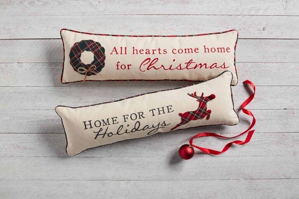 Mud Pie H7 Christmas Tartan Applique 12x32in Throw Pillow 4164050 Choose Design For Sale Online Ebay
