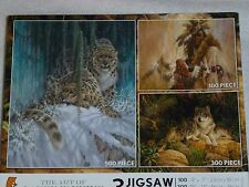 NEW 3-in-1 LARRY FANNING 100-300-500 Pieces Jigsaw Puzzles Leopards Wolf SEALED