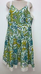 PVP-21-99-M-amp-S-una-cintura-Estampado-Floral-Verde-per-Vestido-Midi-B117