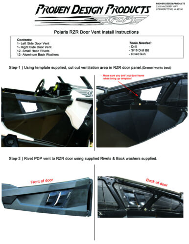 2014 POLARIS RZR XP OEM Door HOT AIR VENTS By Proven Design Products