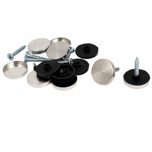 8 Set Metallic 20mm Dia Caps Mirror Screws for Bathroom